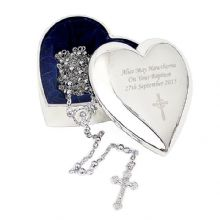 Rosary Beads and Cross Heart Trinket
